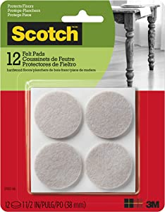 Scotch Mounting, Fastening & Surface Protection SP803-NA Scotch Felt Pads Round, 1.5 in. Diameter, Beige, 12/Pack
