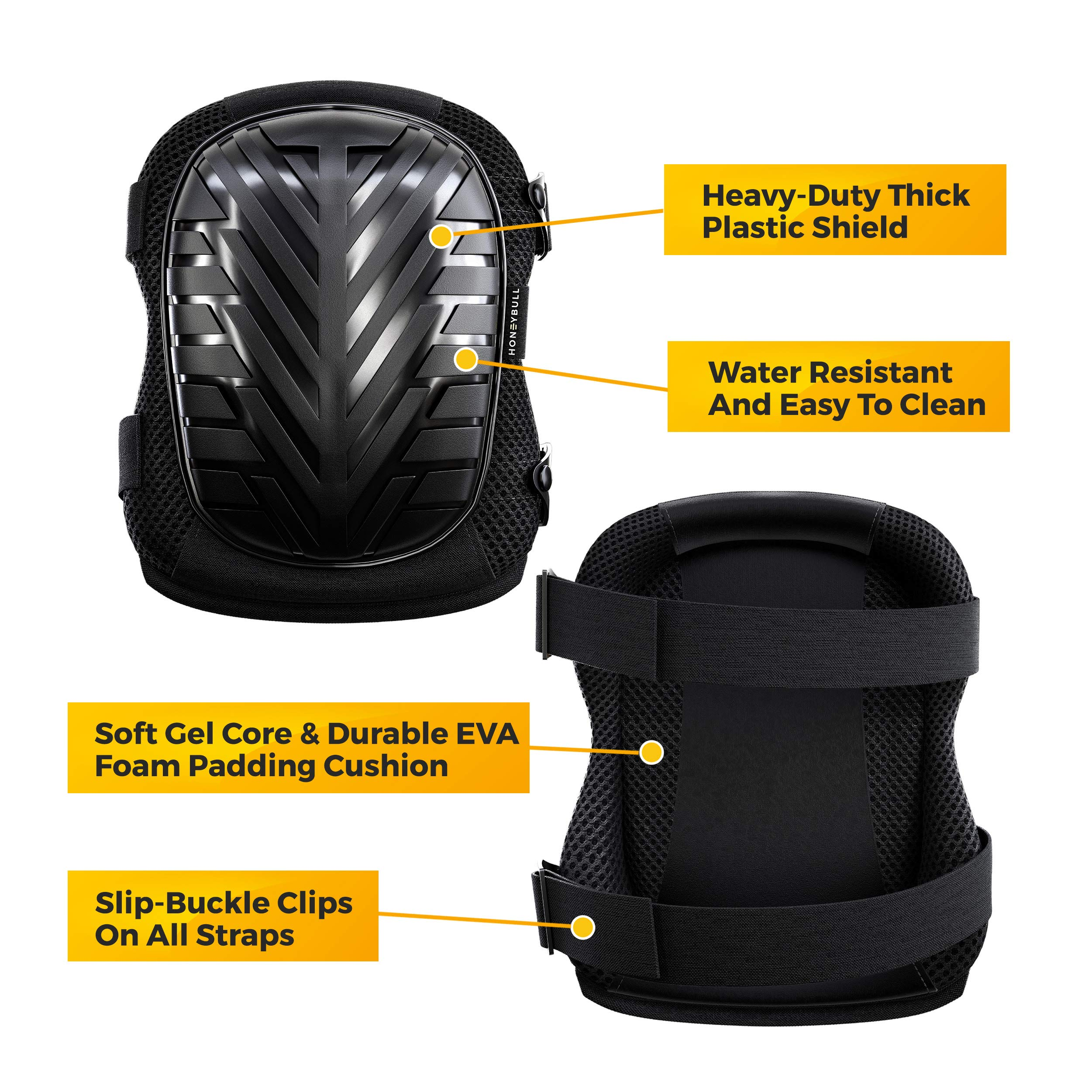 HONEYBULL Knee Pads for Work with Foam Pads - Universal Fit (1 Pair) by HONEYBULL (Image #6)