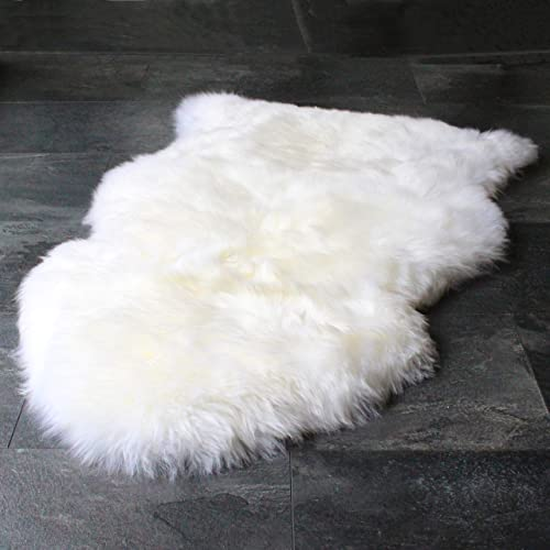 Outlavish Sheepskin Rug Genuine Soft Natural Merino 2 x 3 White Ivory