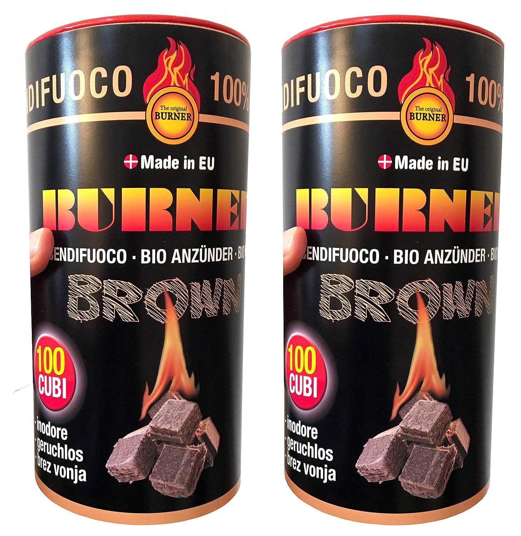 Burner accendifuoco Ecologico 200 cubetti - bio, inodore, Senza scadenza, Non tosico, Non inquinante per Barbecue, stufe, camini - 2 barattoli x 100 Pezzi