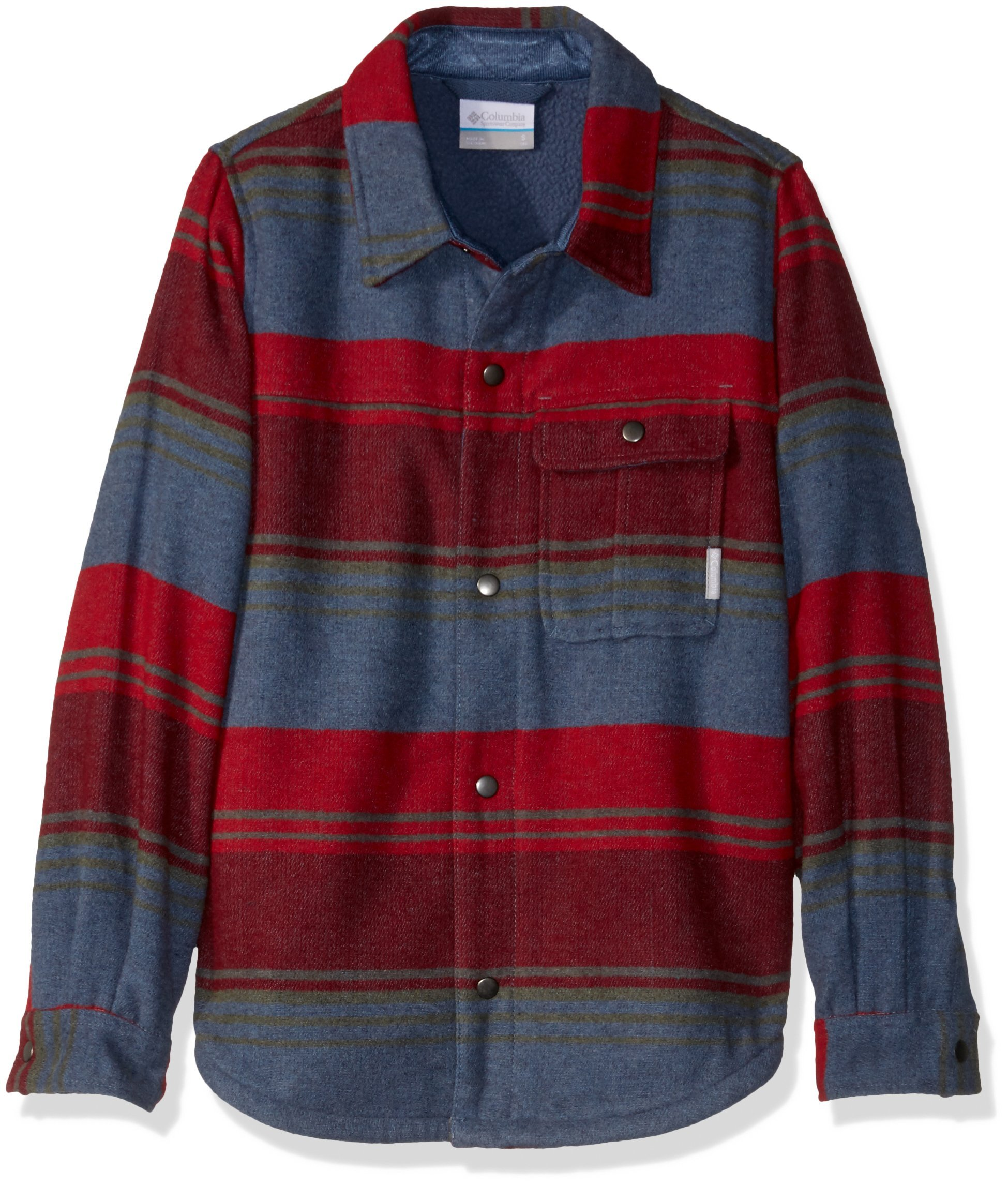 Columbia Boys' Little Windward Sherpa-Lined Shirt Jacket, Dark Mountain Stripes, XX-Small by Columbia