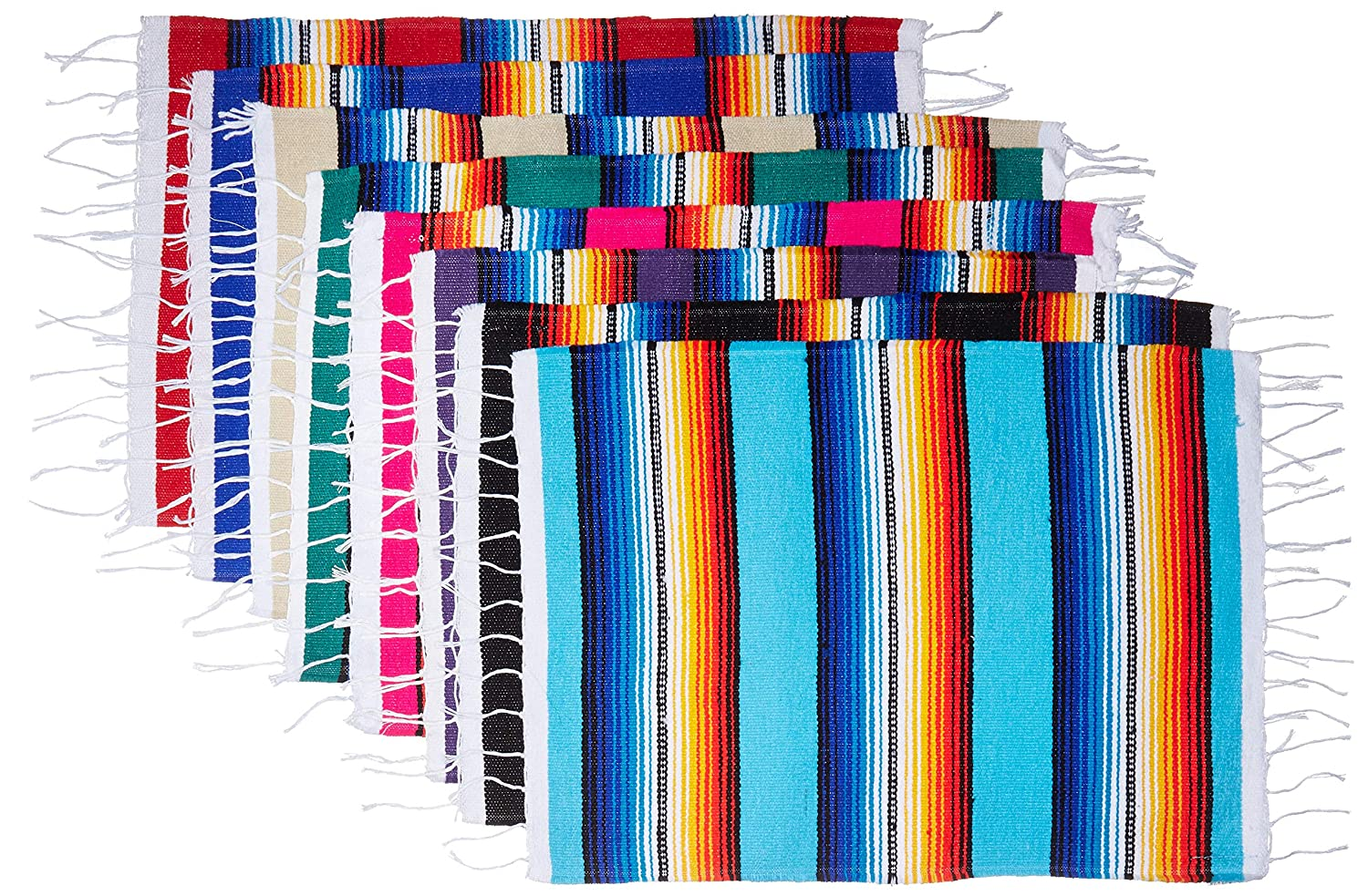 El Paso Saddleblanket Mexican Serape Style Place Mats, Assorted Place Mats for Mexican Party or Wedding Decorations, 19inch x 13inch (Set of 8)