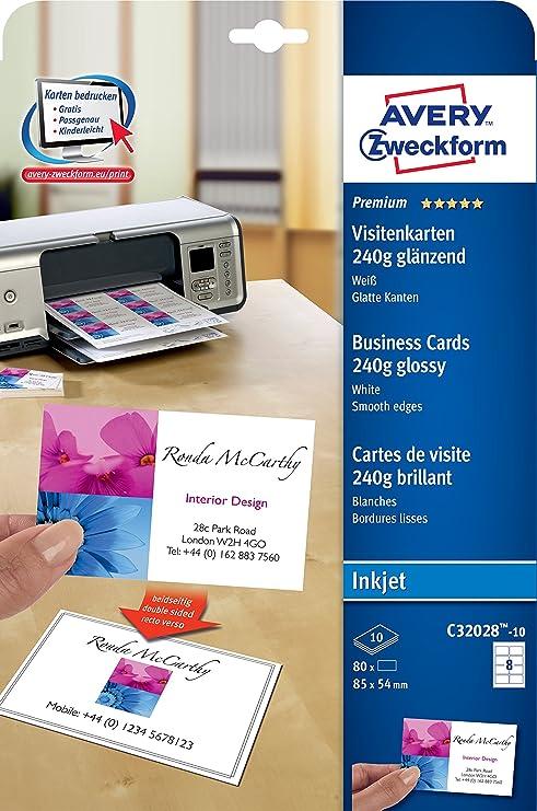 Avery C32028-10 Inyección de tinta Papel 80pieza(s) tarjeta ...