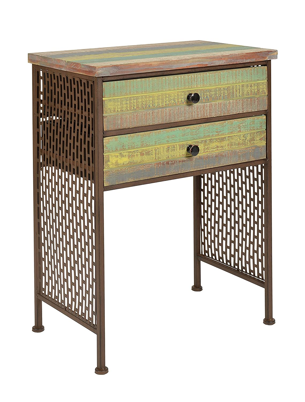 ts-ideen Mobiletto stile anticato Industriale in metallo marrone e legno effetto Vintage consumato