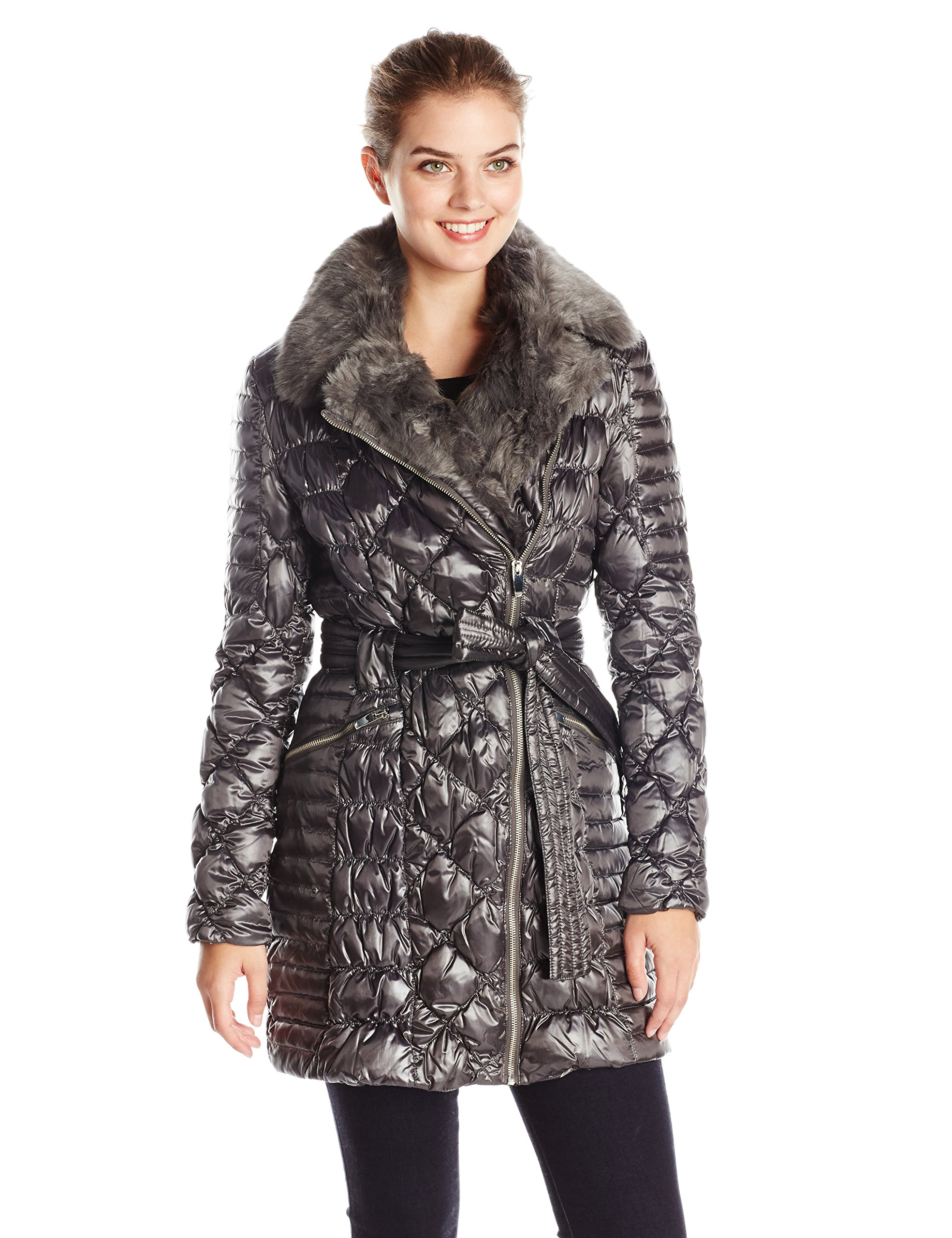 Via Spiga Women's Diamond Quilted Down Coat with Asymmetrical Zip and Faux Fur, Gunmetal, X-Small