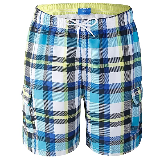 04c166e2e64c8 AjezMax Men's Swim Trunks Plaid Beach Surf Shorts with Cargo Pockets Mesh  Lining Swimwear Size S