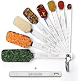 2LB Depot Stainless Steel Measuring Spoons Set of 9 includes Bonus Leveler, Narrow Design Fits in Spice Jars for Dry or Liquid Ingredients