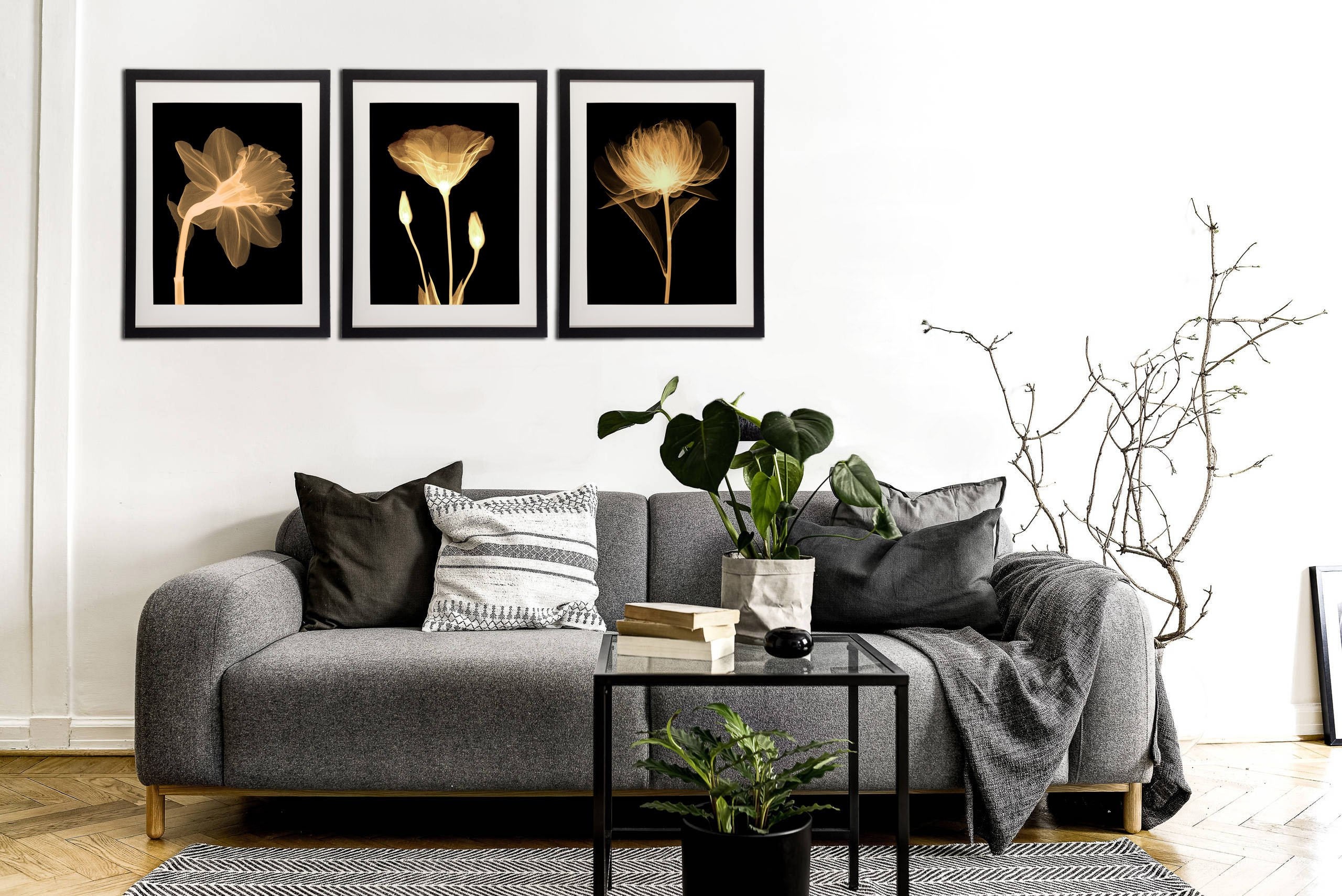 Black White And Gold Wall Art Canvas Prints Decor Framed ...