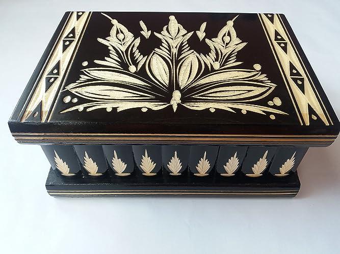 Caja puzzle grande enorme del rompecabezas de la caja negro, caja secreta, caja mágica, caja de joyería de almacenaje de madera caja tallada de la sorpresa, juguete de madera para los cabritos: