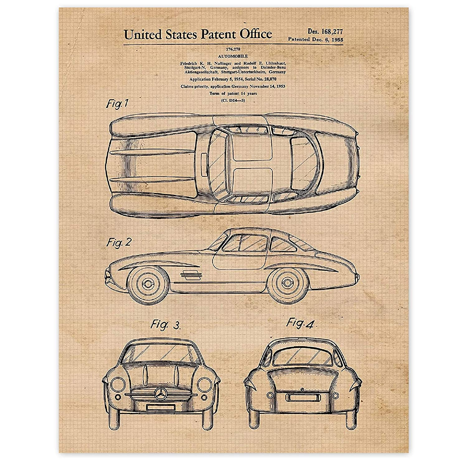 Vintage Mercedes Benz 300SL Gullwing Patent Poster Prints, Set of 1 (11x14) Unframed Photo, Wall Decor Gifts Under 15 for Home, Office, Garage, Man Cave, College Student, Teacher, Cars & Coffee Fan
