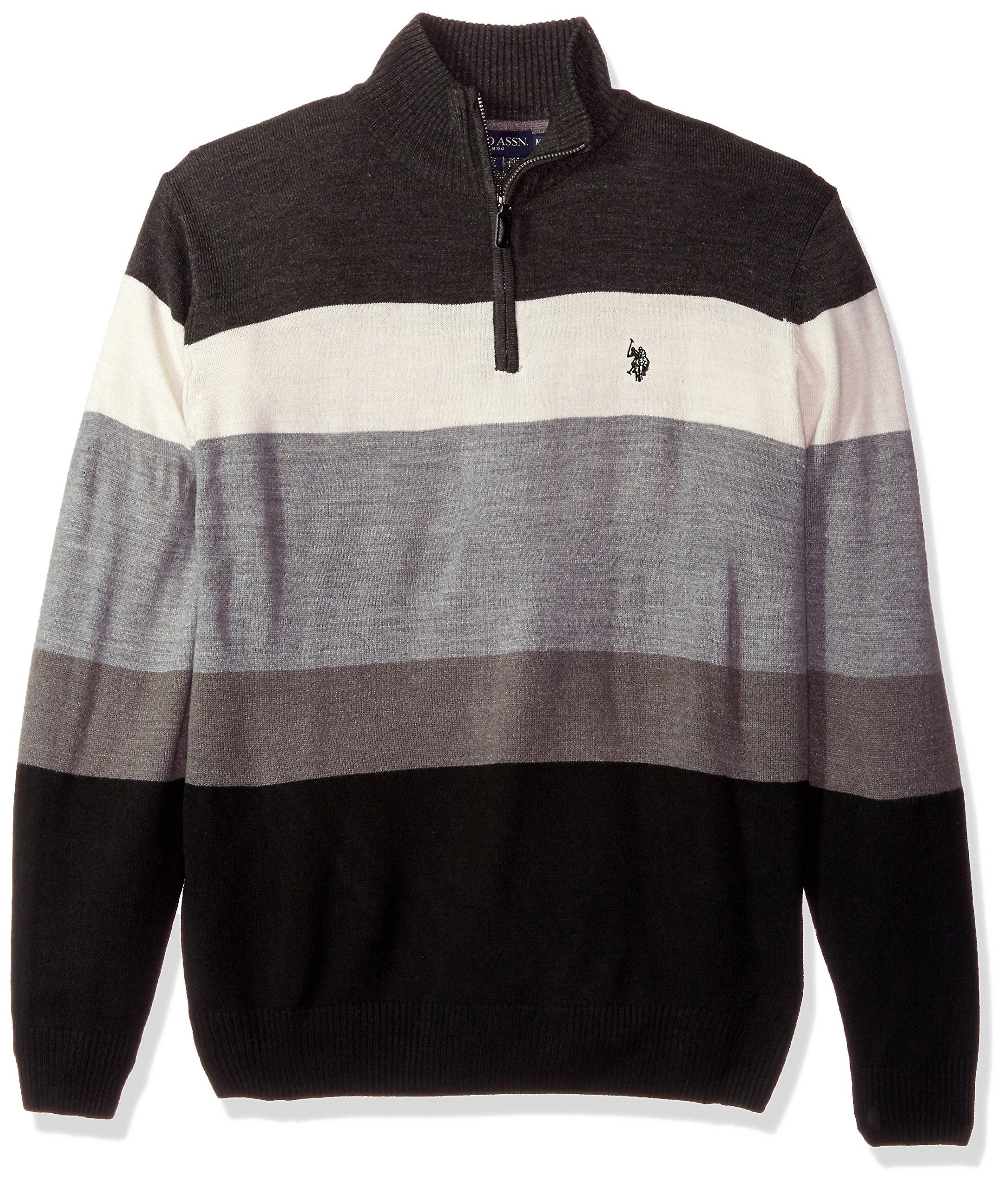 U.S. Polo Assn. Men's Double Striped 1/4 Zip Sweater, Charcoal Heather, Medium