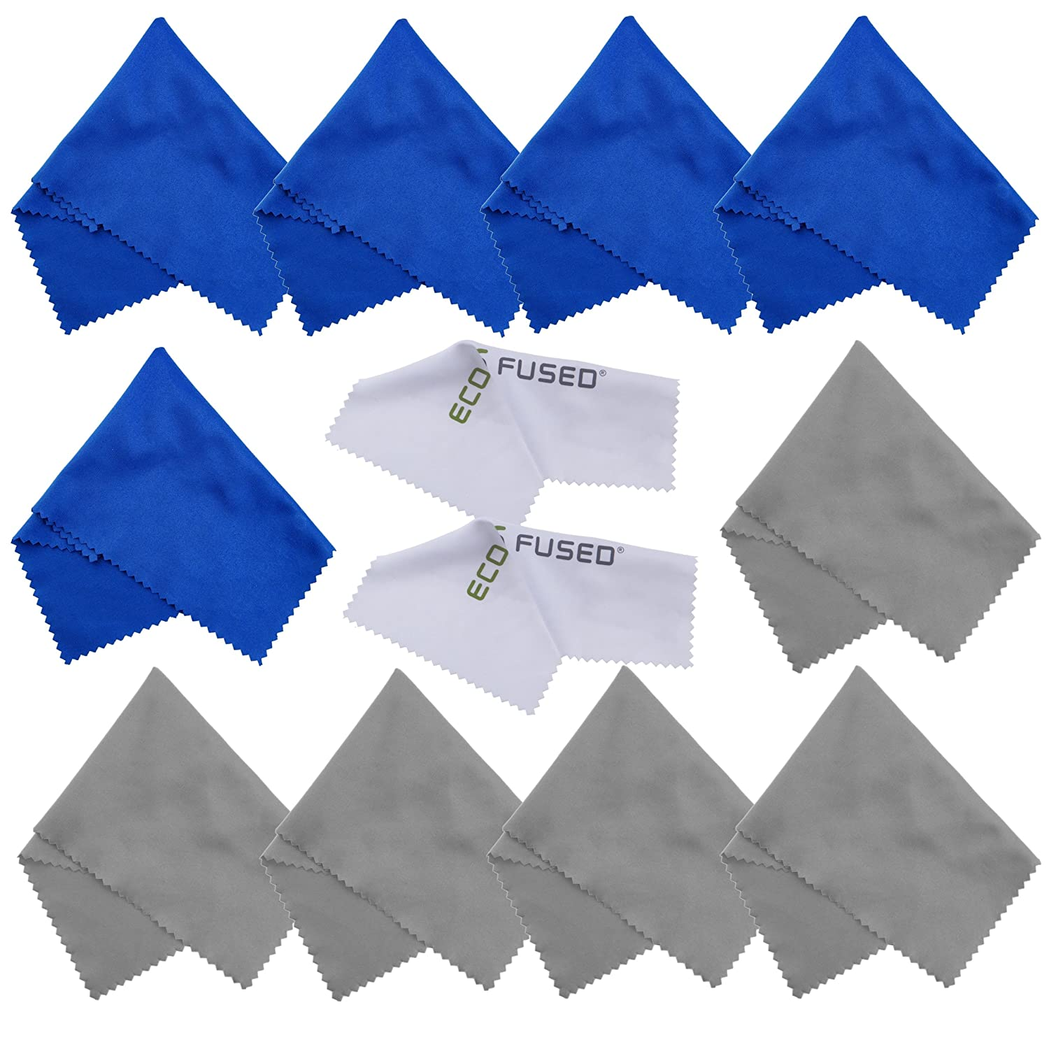 Microfiber Cleaning Cloths - 10 Cloths and 2 White Cloths - Ideal for Cleaning Glasses, Camera Lenses, iPad, Tablets, Phones, iPhone, Android Phones, LCD Screens and Other Delicate Surfaces Eco-Fused P2JGQ-MCC-12PC