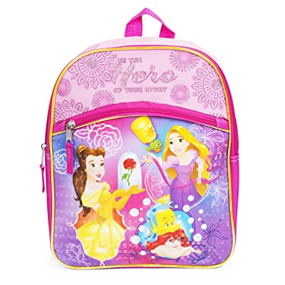 Belle, Ariel and Rapunzel Princess Pink 12 Inch Toddler Backpack School Bag | Kids' Backpacks