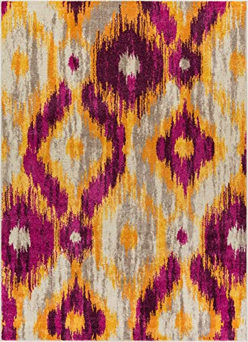 "Well Woven Global Bohemian Ikat Purple Yellow Vibrant Modern Tribal Pattern 5x7 5'3"" x 7'3"" Area Rug Contemporary Thick Soft Plush"