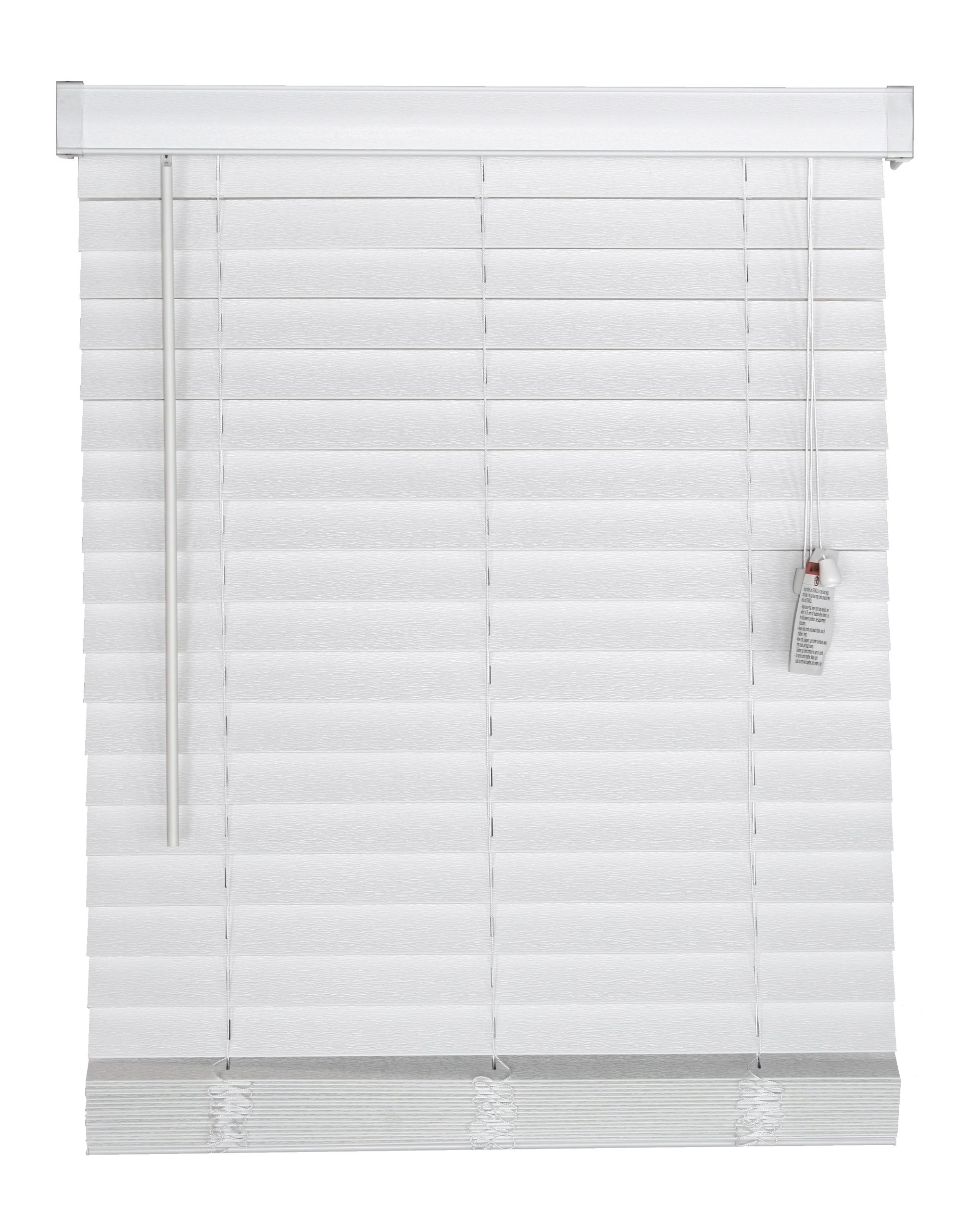 Corded, 2 inch Faux Wood Blind,  White, 32.5W x 36L