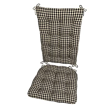 Barnett Products Rocking Chair Cushion Set Checkers Black Cream Size Extra Large Latex Foam Filled Seat Pad And Back Rest Reversible Black