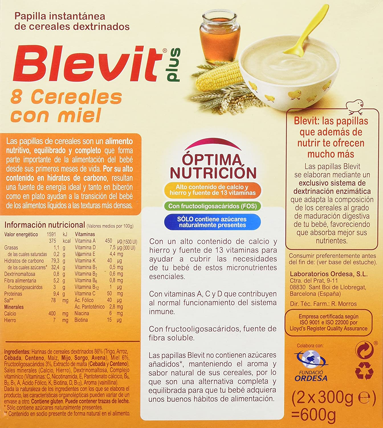 Amazon.com : BLEVIT 8 CEREALES CON MIEL 600 GR : Grocery ...