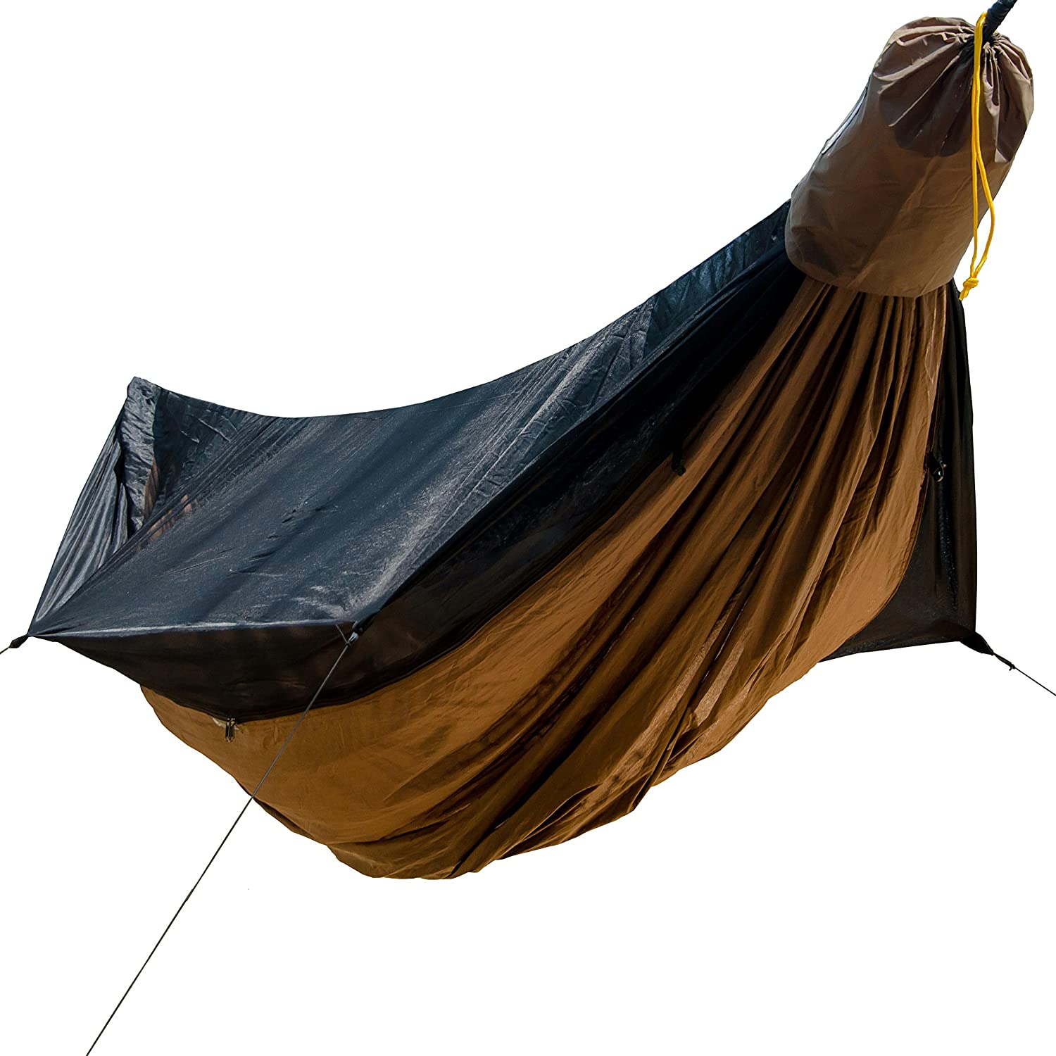 Rapid Deployment Bag Go Camping Hammock 2.0 w// Built-In Mosquito Net Slate Gray by Go Outfitters: 11 Long X 64 Wide  Includes 2 Premium Aluminum Carabiners 4 Stakes /& 4 Shock Cords 4 Stakes and 4 Shock Cords GCH2.0SG