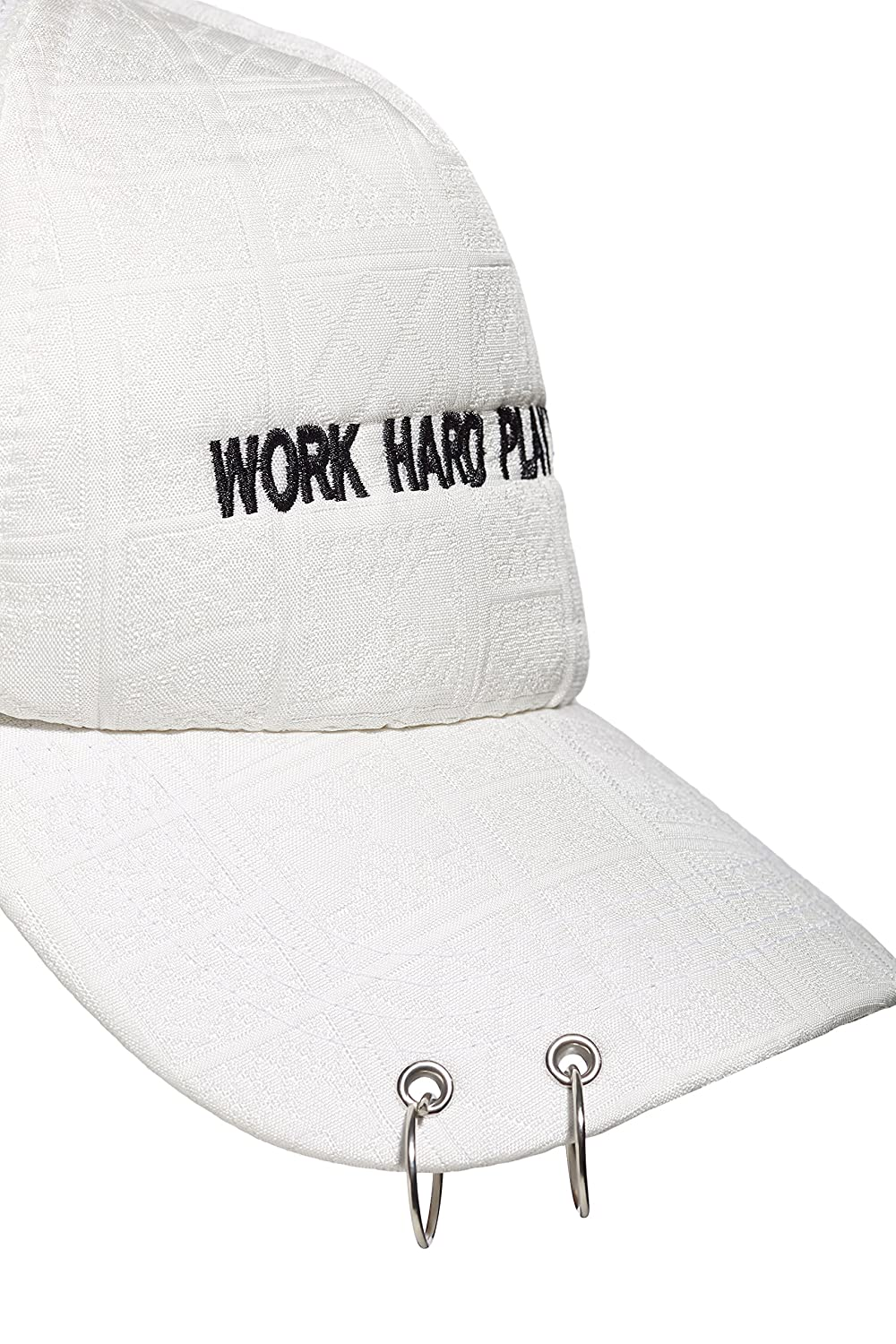 Work Hard Play Hard  Embroidered Baseball Cap 2 Rings Mesh Back Snapback  For Men (White)  Amazon.in  Clothing   Accessories 89592656bf7b