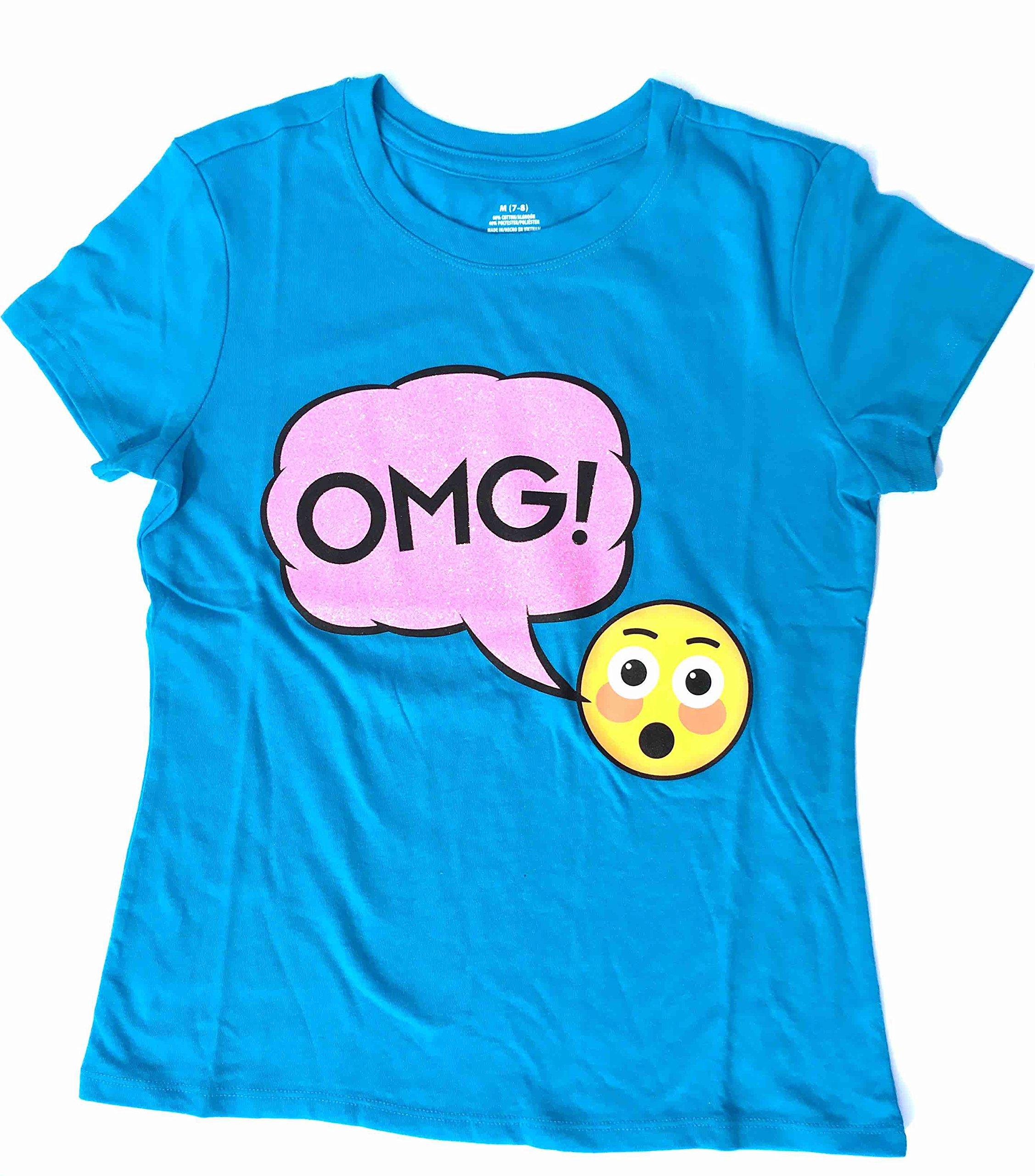 Generic Teal OMG Emoji Girls Fashion Sparkle T-Shirt (large 10-12)