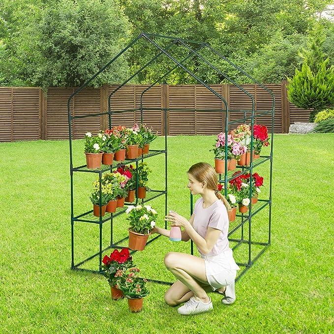 Invernaderos Plastico huerto terraza Aire Libre de Invierno con 8 estantes - para Hierbas, Flores o Plantas en macetas, casa con Dosel para Tomates: Amazon.es: Hogar