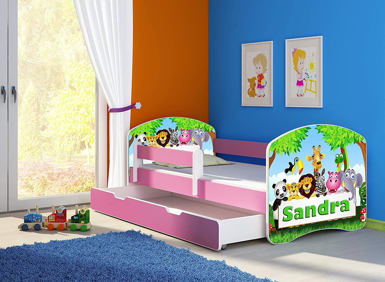 Letto per bambino Cameretta per bambino con materasso Cassetto ACMA II 01 Il nome Zoo, 140x70