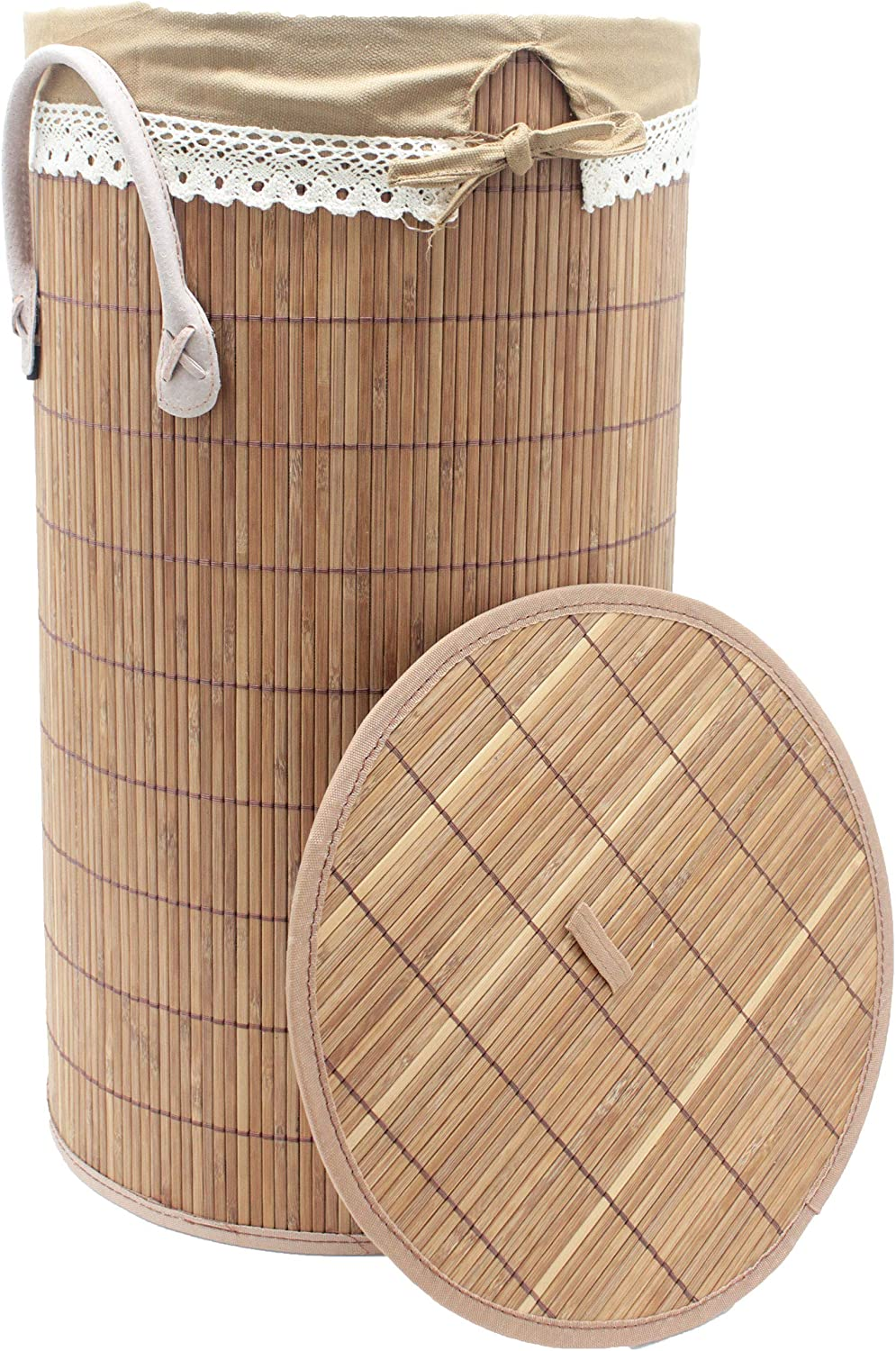 Seta Direct Foldable Bamboo Round Laundry Hamper with Lid and Removable Cloth Liner [Large]