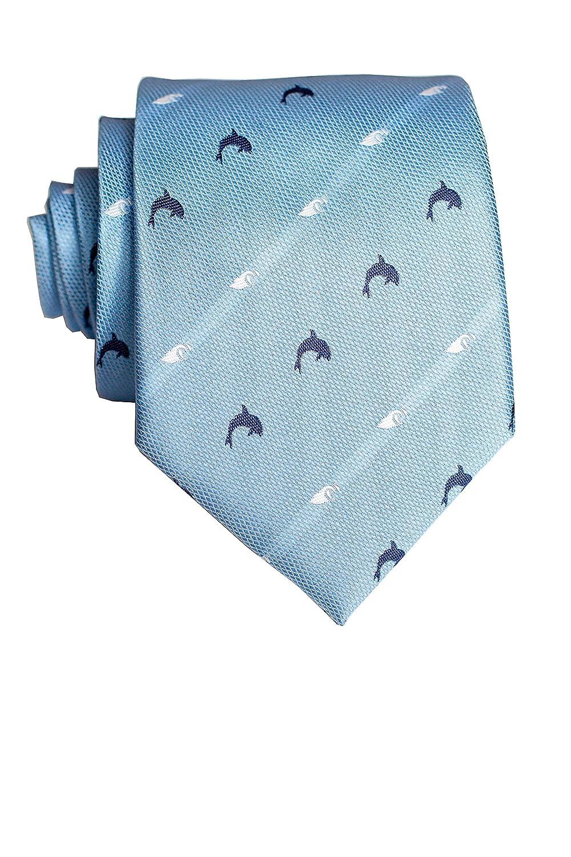 Pineapple Palaka Mens Neckties Naia Light Blue Modern Silk