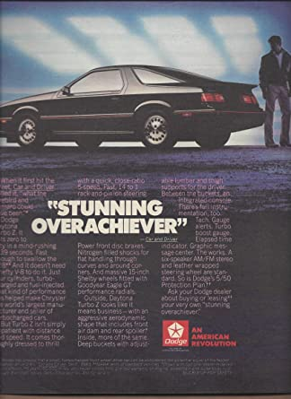 Amazon.com: MAGAZINE AD For 1985 Black Dodge Daytona Car: Stunning Overachiever: Entertainment Collectibles