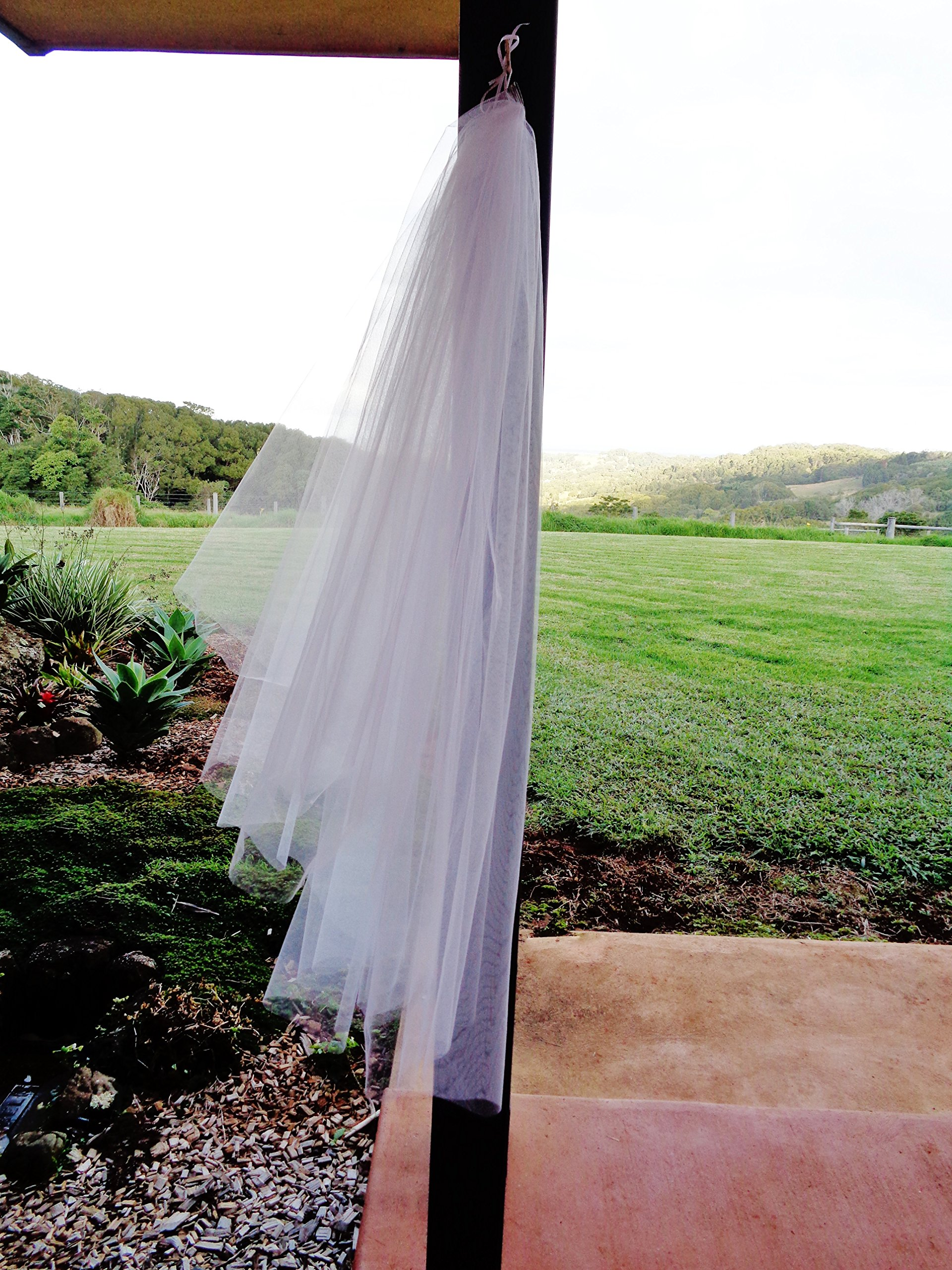 Two tier fingertip veil. Cut edge veil. Raw edge wedding veil. 2 tier wedding veil. Plain edge veil by Veils of Joy