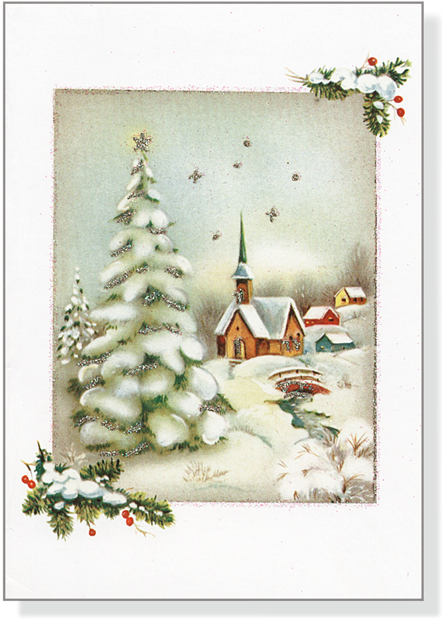 Vintage Winter Church Small Boxed Holiday Cards Christmas Cards