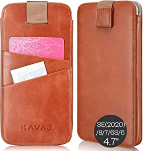 """KAVAJ Case Compatible with Apple iPhone SE (2020), 8, 7, 6S, 6 4.7"""" Leather - Miami - Cognac Brown Wallet Cover Phone Case with Card Holder"""