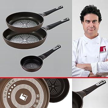 Bergner Sacher: Juego de útiles de cocina: Mini-sartén 14, Sartén 24 y Sartén 28 cms.: Amazon.es: Hogar
