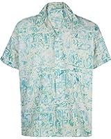 *La Leela* Albero Aloha Tasto Hawaiano Degli Uomini del Cotone Giù Camicia Tropicale Verde Chiaro