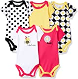 Luvable Friends Baby-Boys Unisex-Baby Cotton Bodysuits, 5 Pack Short Sleeve Shirt