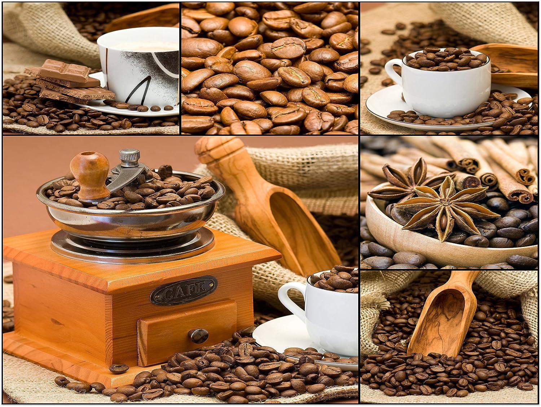 Bilderdepot24 Bastidor Lienzo café Collage I XXL - 80x60 cm 1 Pieza - Enmarcado Listo Bastidor Imagen. Directamente Desde el Fabricante: Amazon.es: Hogar