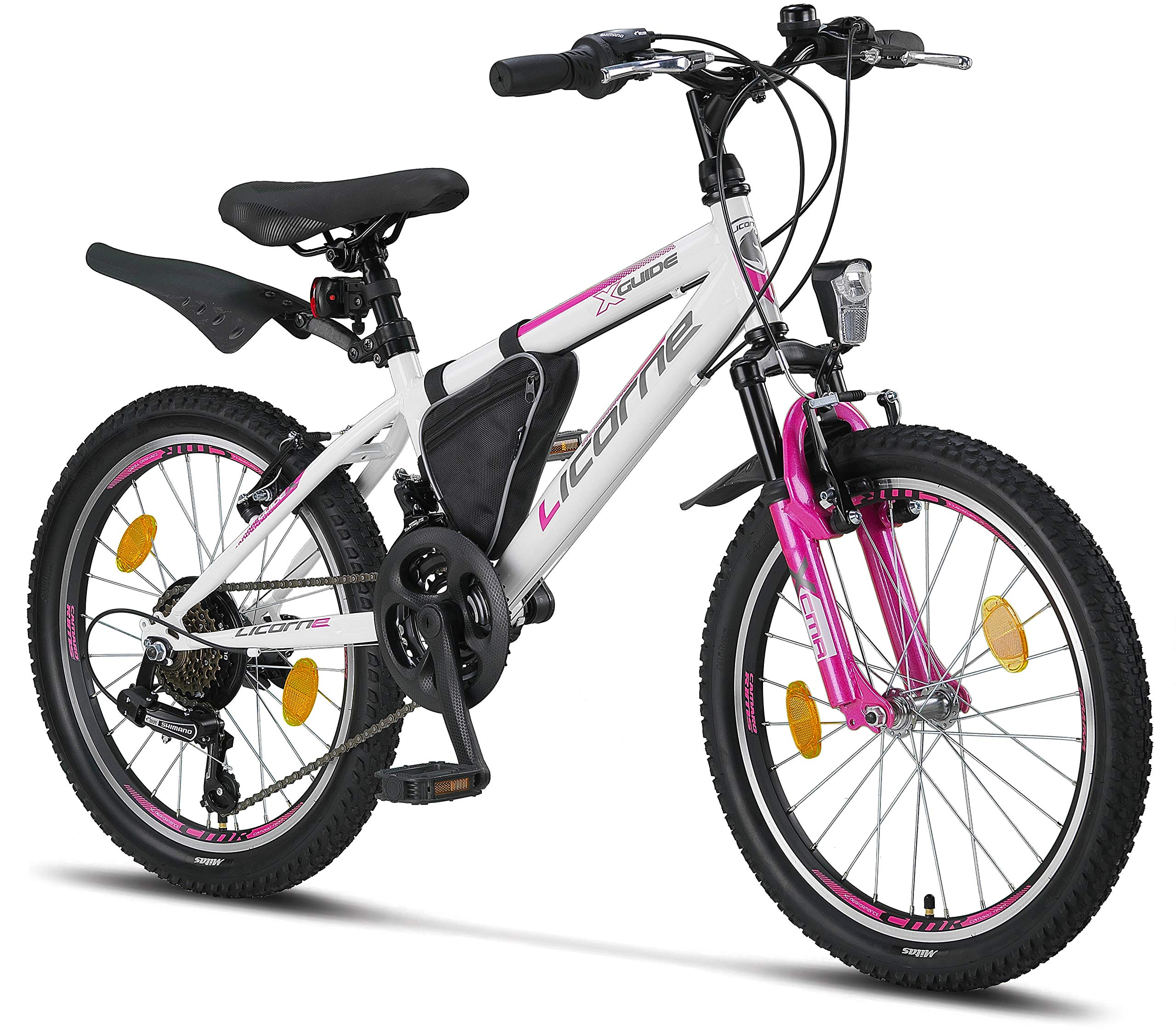 Licorne Guide Mountain Bike - 26, 24 or 20 Inch - Shimano 21-Speed Gears, Fork Suspension - Children's Bicycle for Boys and Girls - Frame Bag