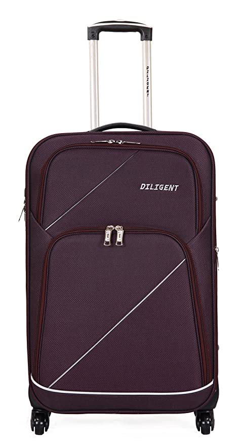 2799634cedf Diligent Smart Travel Case Polyester 20 Inch Purple Soft Sided Suitcase