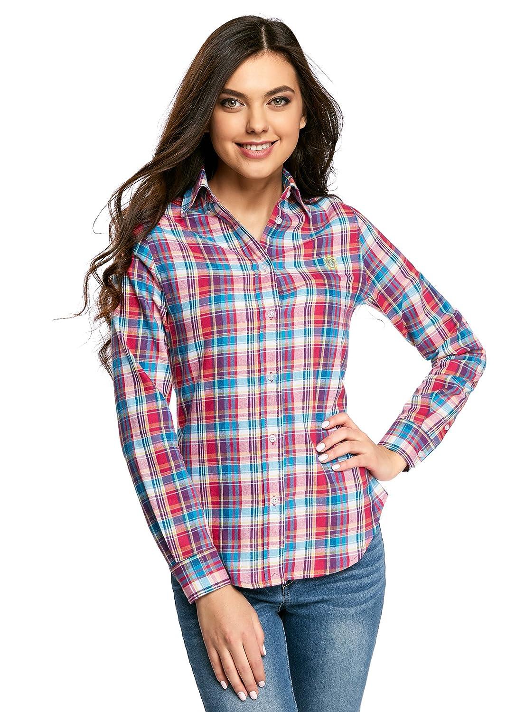 oodji Ultra Mujer Camisa Ancha con Bordado