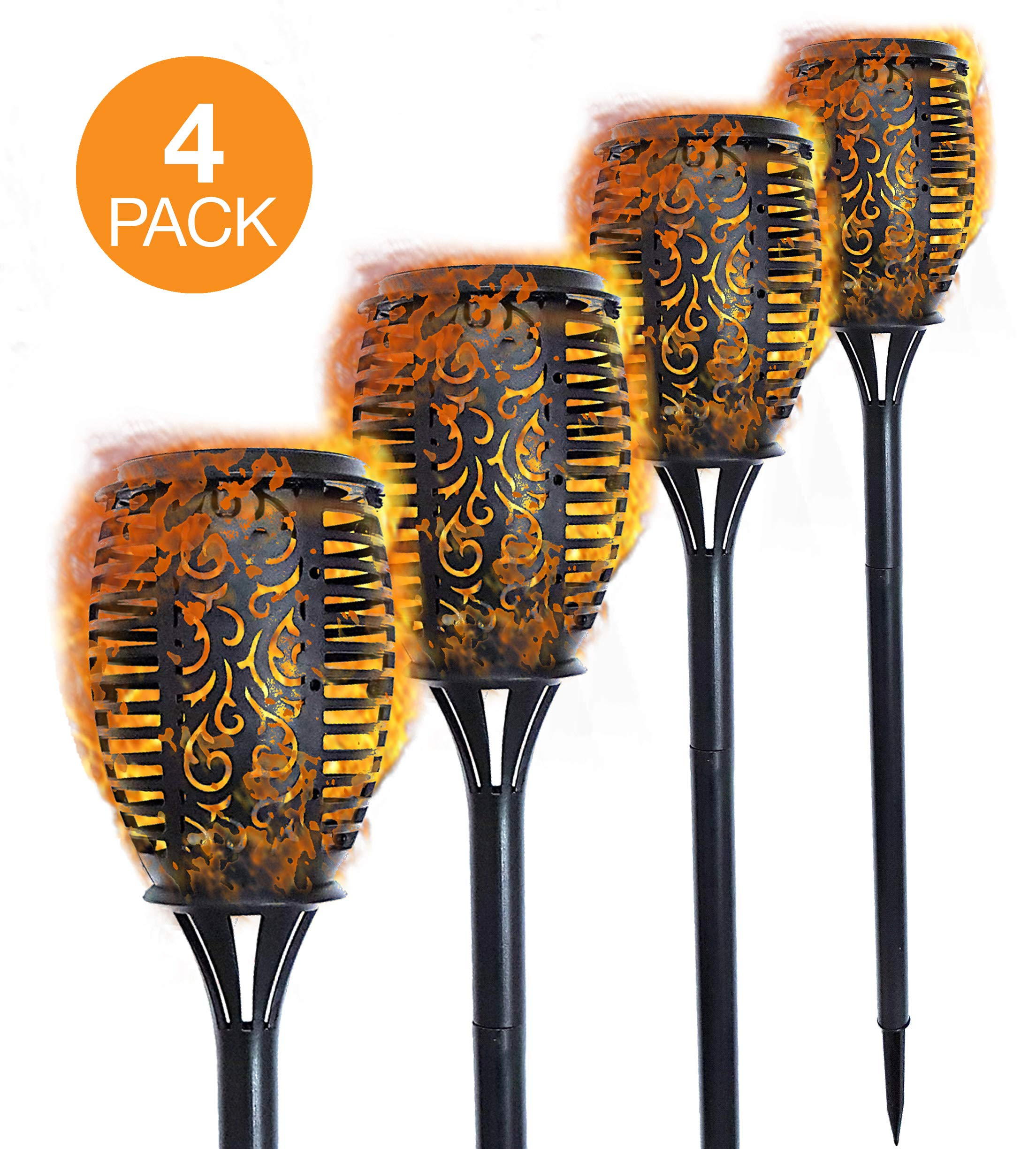 26'' Solar Tiki Torch (compact size) - 4 Pack. Dancing flames outdoor lights. Decoration Flickering Lights with Auto Dusk to Dawn Outdoor Path Light for Garden, Patio, Deck, Yard, Pool, Driveway