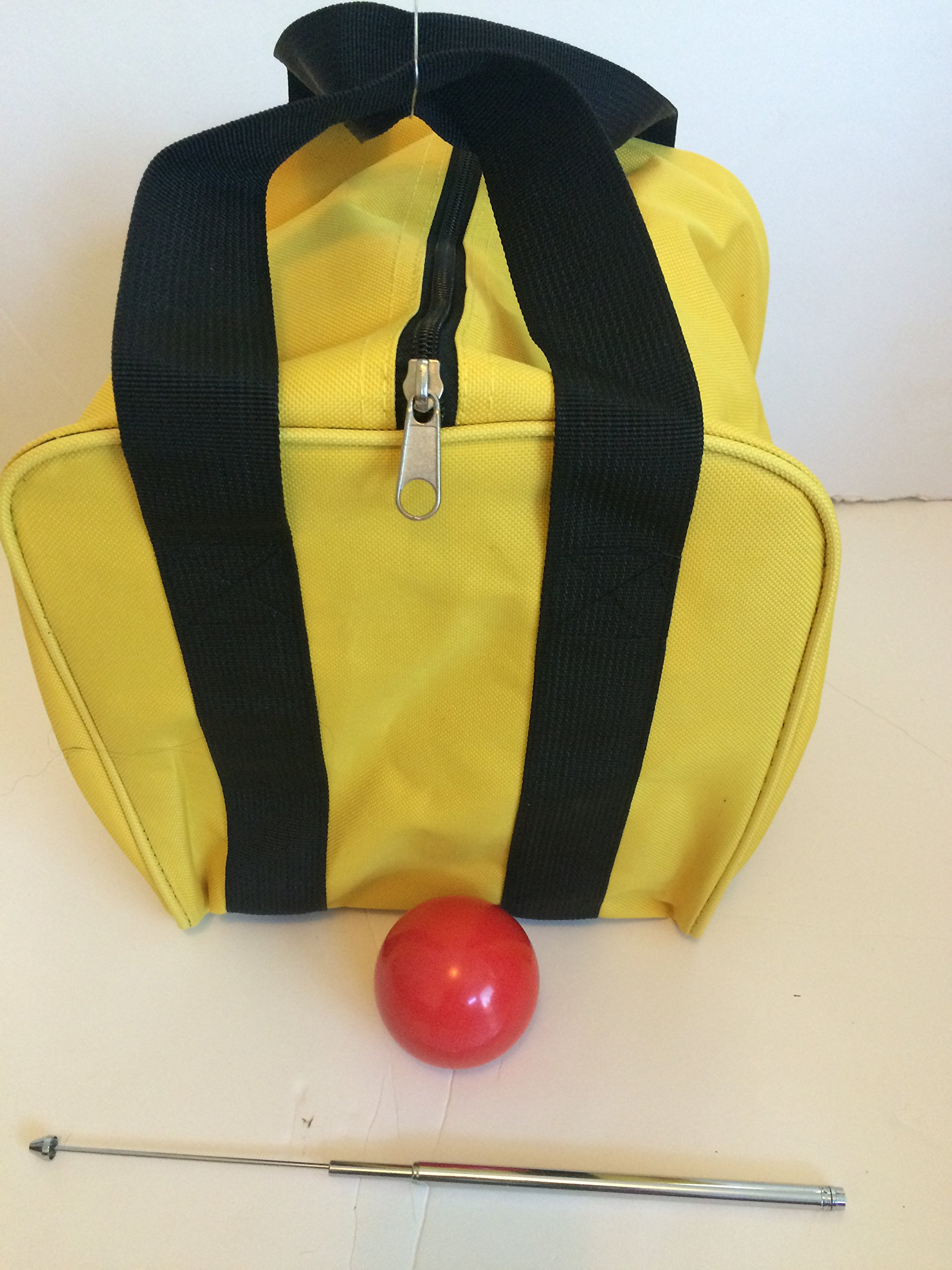 Unique Bocce Accessories Package - Extra Heavy Duty Nylon Bocce Bag (Yellow with Black Handles), red pallina, Extendable Measuring Device