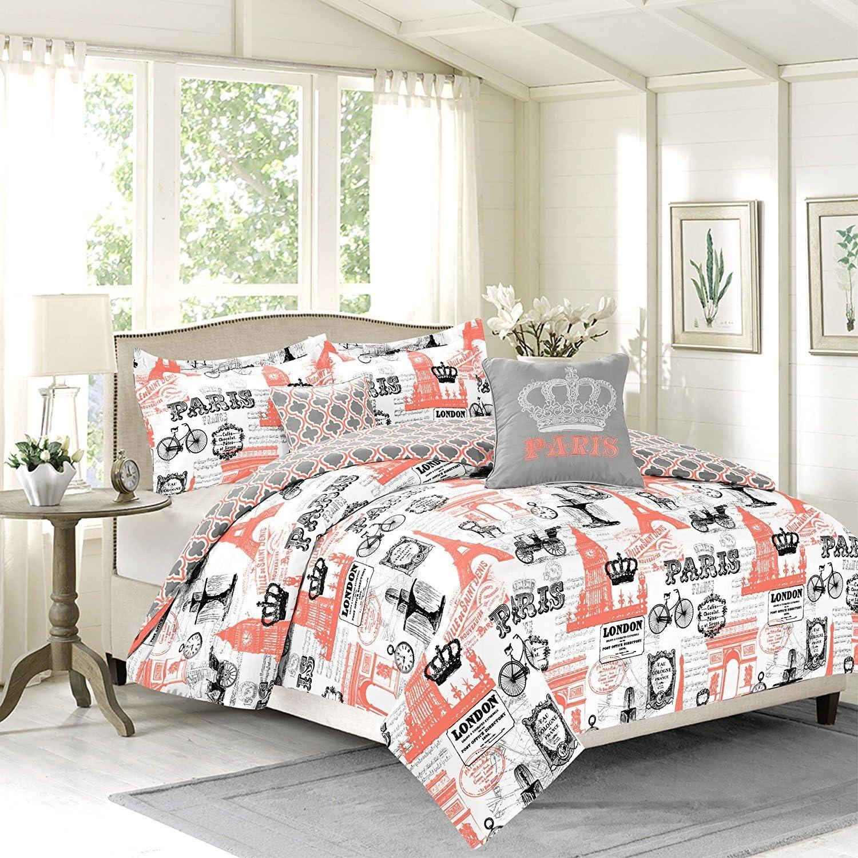Cama doble o Queen niñas colcha juego de cama, París Torre Eiffel Londres, Coral rosa: Amazon.es: Hogar