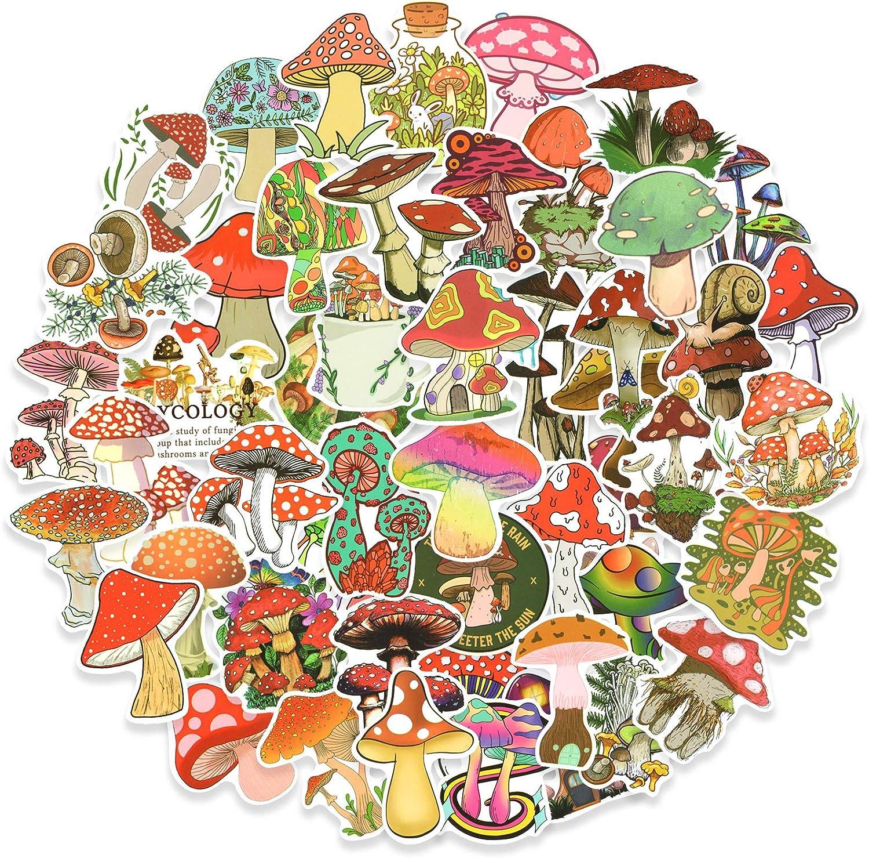 50pcs Mushroom Aesthetic Stickers Pack, Cute Vinyl Stickers for Laptop Water Bottle Skateboard, Waterproof Decals for Adults Teens Kids