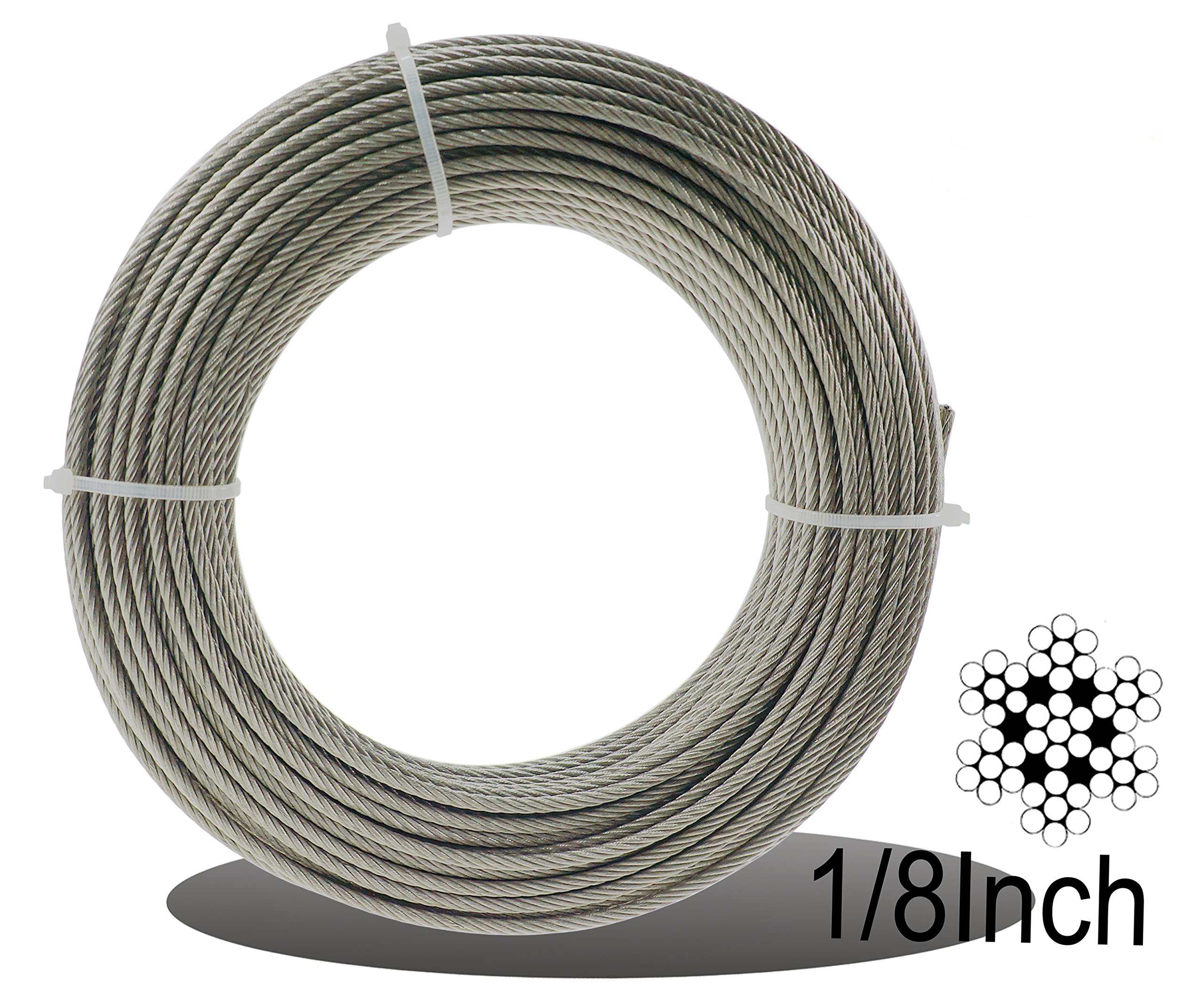 Muzata Stainless Aircraft Steel Wire Rope Cable For Railing ,Decking, DIY Balustrade, 1/8Inch,7x7,328Feet