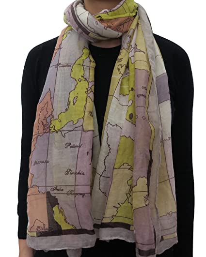 Lina lily world map print long scarf for women lightweight multi lina lily world map print long scarf for women lightweight multi1 at amazon womens clothing store gumiabroncs Image collections