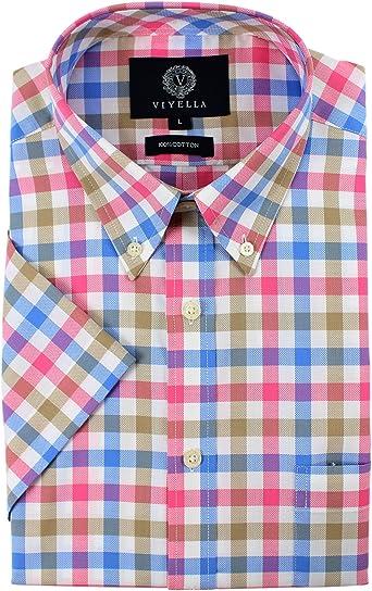 Viyella - Camisa de Manga Corta de algodón, diseño de Cuadros, Color Rosa y Azul: Amazon.es: Ropa y accesorios