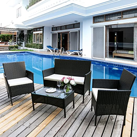 Leisure Zone®Garden Furniture Set Patio Furniture Set Rattan 4 Seater  Conservatory Sofa Set Wicker