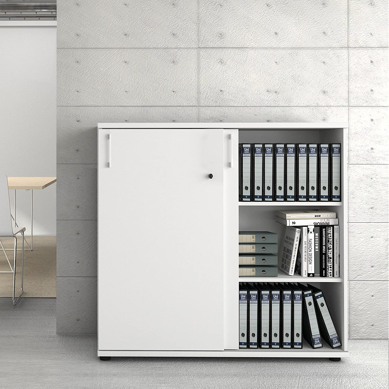 UNI Aktenschrank 1,2M abschließbar 3OH Weiß Büroschrank ...