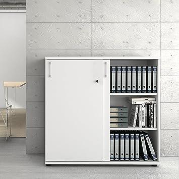Aktenschrank abschließbar weiß  UNI Aktenschrank 1,2M abschließbar 3OH Weiß Büroschrank ...