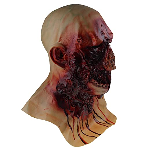 Amazon.com: COMLZD Scary Halloween Latex Bloody Zombie Melting Mask Cosplay Costume Full Overhead Latex Props: Clothing